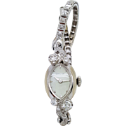 A ladies Hamilton 14K white gold vintage wristwatch with diamonds