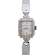 A vintage Hamilton 14K white gold and diamond ladies wristwatch