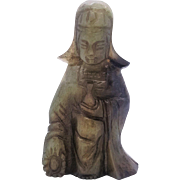 Antique Jade carving of a standing Guyanyin figure