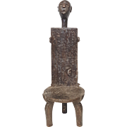 African tribal furniture ethnographic art hand carved sculpted chair Nyamwezi. Tanzania
