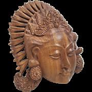 Hand carved natural satin wood Balinese Janger Lady dance mask