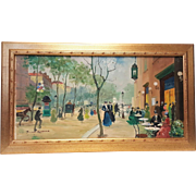 Original vintage oil on canvas painting french street art in frame with illegible signature.