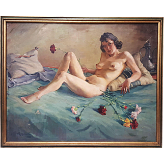 Oil on canvas nude painting signed F.A. Kordon-Veri and dated 1939