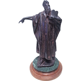 A vintage Bronze statue of Moses signed R (Raphaello) Romanelli at the bottom of the statue