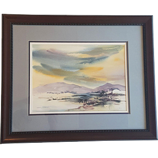 An original vintage watercolor painting signed the by artist Kerry Stratton
