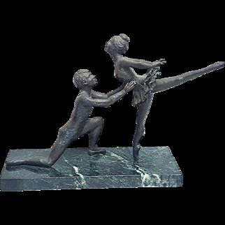 A vintage 1930's Russian Art Deco bronze ballerina dancing couple