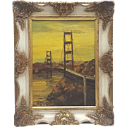 Original oil painting on canvas by Peter Burnell Golden Bridge
