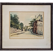 Original artist's  proof etching in color by H Tourneur