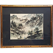 A vintage Chinese watercolor painting landscape.
