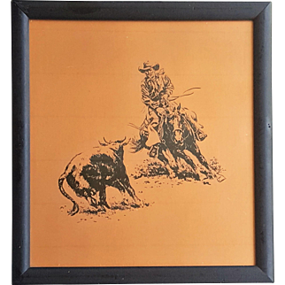 A Western art etching on copper plate cowboy on horse trying to lasso a cow