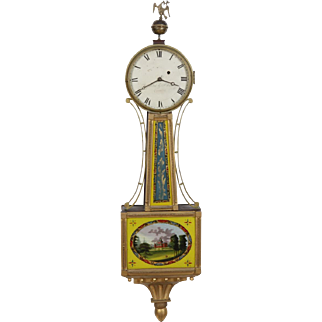 Warranted by Samuel Whiting Concord MA Gold Front Presentation Banjo Clock C. 1820 Original Boston State House Glasses