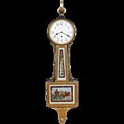 Waterbury Willard #6 Gold Front Weight Driven Presentation Banjo Clock Aurora Glasses Porcelain Dial Mint Original