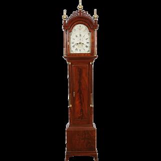 William Cummens Roxbury MA C. 1800 High Style Mahogany Tall Case Clock