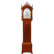 Benjamin Willard Roxbury MA Cherry Chippendale Tall Case Clock w/ Simon Willard & John Morris embossed pendulum bob