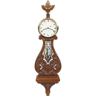Elmer Stennes Carved Mahogany Weight Driven Lyre Banjo Clock #22, 1972, M.C.I.P.