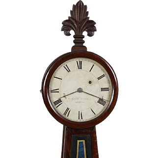 Sylvester Edgerly Roxbury MA Weight Driven Banjo Timepiece Wall Clock