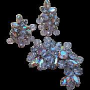 Rare Weiss crystal and rhinestone  brooch earring set AB impressive