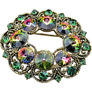 Signed Hollycraft brooch rare watermelon rivoli stones