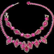 vintage  Weiss raspberry rhinestone necklace , bracelet