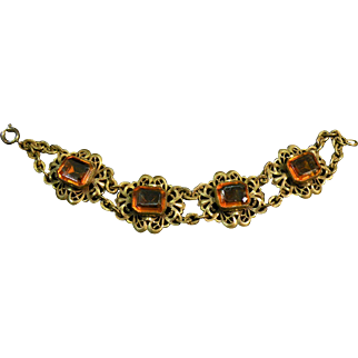 Vintage Czechoslovakian  Amber Colored Glass Link Bracelet Neiger