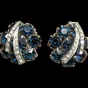Weiss rhinestone earrings royal blue