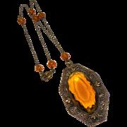 Czechoslovakia sterling silver  filigree topaz crystal pendant necklace