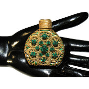 Vintage Bohemian Miniature Jeweled Perfume bottle Malachite