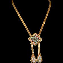 Fine antique micro mosaic lavalier necklace circa 1890- 1900 rare piece