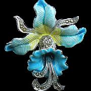 Vintage floral enamel and marcasite blue orchid brooch