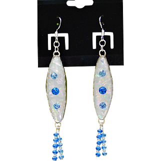 Artisan Fused glass Earrings with Vintage Austrian Crystal and beaded fringe
