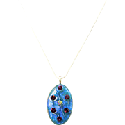 Artisan dichroic glass pendant with Vintage Austrian crystals