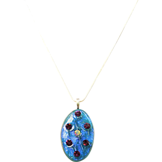 Artisan fused dichroic glass pendant with Vintage Austrian crystals