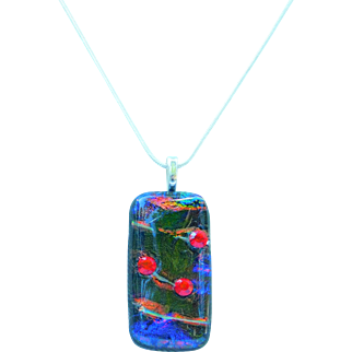 Artisan Dichroic Fused Glass pendant embellished with Vintage Austrian Crystals