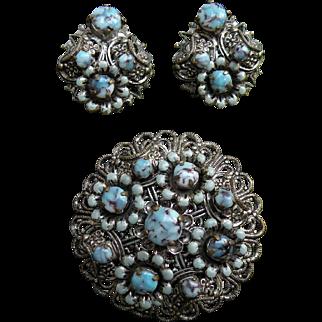 Vintage jewelry bohemian czech art glass & filigree metal  brooch earring
