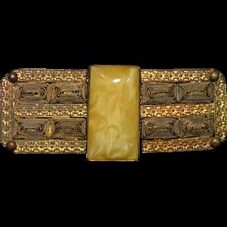 Bohemian Signed  Czechoslovakian brass  filigree and celluloid  belt buckle