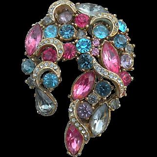 1950's Sphinx rhinestone crescent brooch dazzling pinks blues big brooch