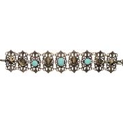 Vintage jewelry  Neiger Brothers  Peking glass Egyptian revival bracelet rare