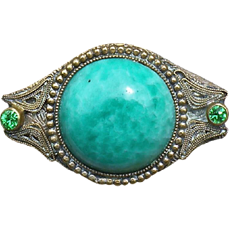 Antique Czechoslovakian  Peking glass and rhinestone pin
