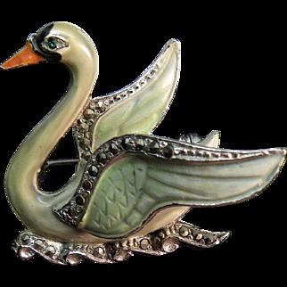 Vintage 1930 - 1950 swan marcasite , enamel pin signed BJL