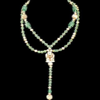 1920's Art Deco Neiger brothers Egyptian revival necklace uranium beads pressed carved Peking glass rare original silk stringing
