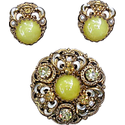Vintage West Germany brooch, earring set, bright yellow art glass satin stones, rhinestones faux pearl Pristine