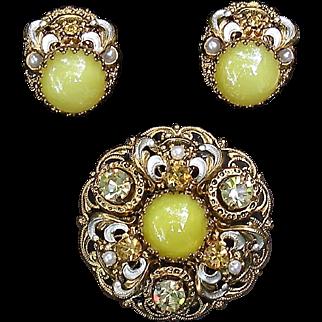 Vintage West Germany brooch, earring set, bright yellow art glass satin stones, rhinestones faux pearl Pristine