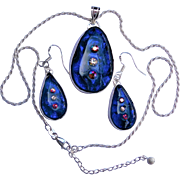 Artisan Dichroic  Glass Earrings and Pendant in silver bezel setting with Vintage Austrian crystals
