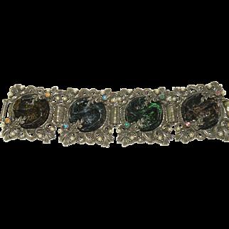 Vintage ornate Gripoix  , poured glass rhinestone  panel bracelet