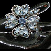 Big Weiss ice blue rhinestone clover leaf brooch rare to find