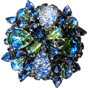 Weiss dome green blue and foil art teardrop cabochon brooch