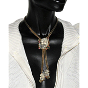 Selro white Lucite devil  Japanese  NOH mask with  jade cabochons  lariat  slide bolo necklace