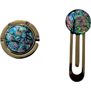 Artisan Dichroic Glass Purse hook and Book mark set