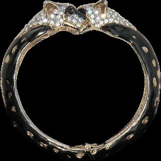 Vintage black panther rhinestone, enamel clamper bracelet rare petite  pristine