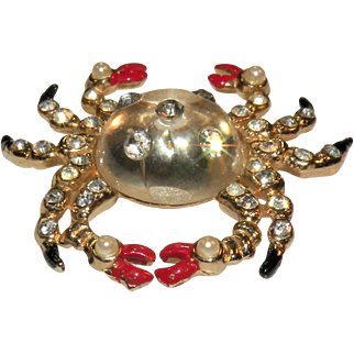 Vintage 1940's Jelly Belly rhinestone inset crab figural pin pristine condition